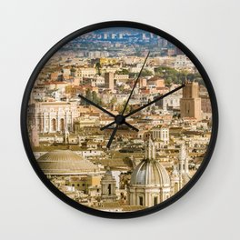 Rome Aerial View From Saint Peter Basilica Viewpoint Wall Clock