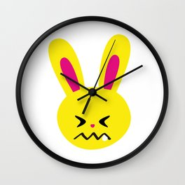 One Tooth Rabbit Emoticons Confounded Bunny Face Wall Clock