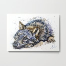 Wolf watercolor Metal Print