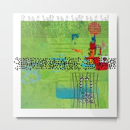 Red and Green Abstract Art Collage Metal Print