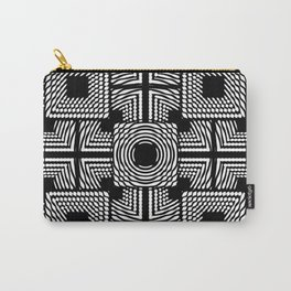 Black and white square hatches Carry-All Pouch