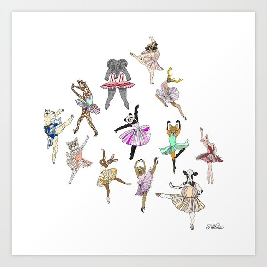 Animal Ballerinas Art Print