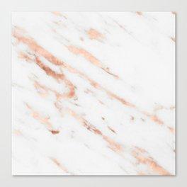 Rose Quartz Foil on Real White Marble Canvas Print