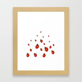 ABSTRACT RED LADY BUGS CRAWLING ON WHITE COLOR Framed Art Print