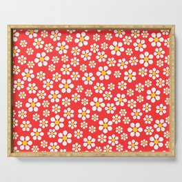 Dizzy Daisies - coral Serving Tray
