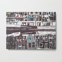 Washing line on boat in Amsterdam Metal Print