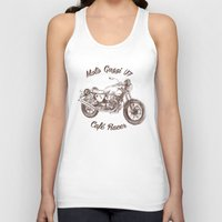 cafe racer Tank Tops featuring vintage moto guzzi - cafe racer by dareba