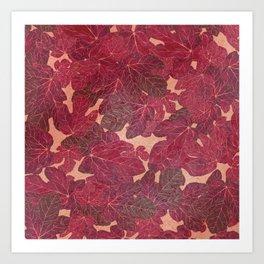 Hand painted rose gold elegant burgundy red foliage Art Print