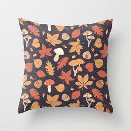Autumn Pattern on Dark Blue Throw Pillow