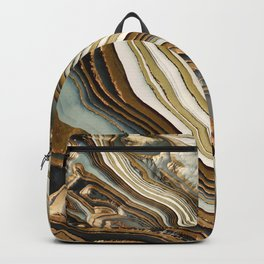 White Gold Agate Abstract Backpack