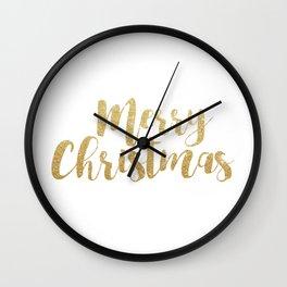 Merry Christmas | Gold Glitter Script Wall Clock