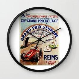 Gran Prix de LACF, Reims, 1959, original vintage poster Wall Clock