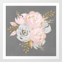Night Rose Garden Gray Art Print