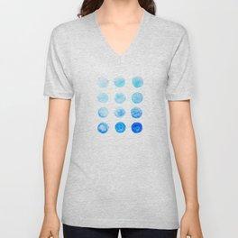 Calming Blue Watercolor Circles Unisex V-Neck