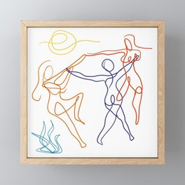 Summer dancers by the fire Framed Mini Art Print