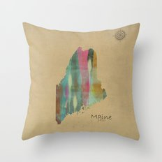 Maine state map Throw Pillow