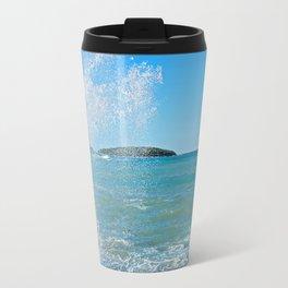 Big wave on the blue sea Travel Mug