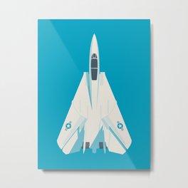 F14 Tomcat Fighter Jet Aircraft - Blue Metal Print