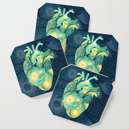 Anatomical Human Heart - Starry Night Inspired Coaster