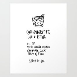 Gin & Tonic Illustrated Cocktail Recipe Art Print