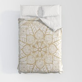 Stylish boho hand drawn golden mandala Comforters