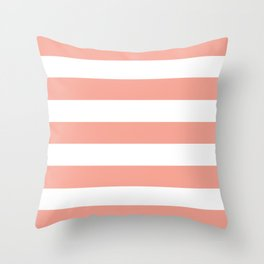 Coral Reef (Valspar Paint Color) - solid color - white stripes pattern Throw Pillow