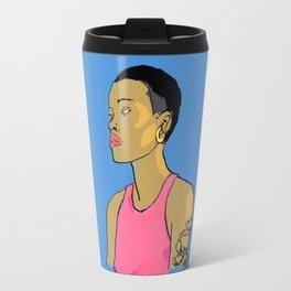 Femme au cheveux courts Travel Mug