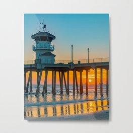Fall Sunset Through the Pier Metal Print