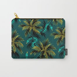 Snake Palms - Dark Teal Mustard Carry-All Pouch