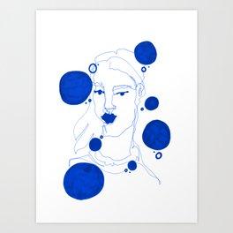 Blue Blind Contour Art Print