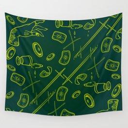 Tarot Illustration (dark and neon green) Wall Tapestry