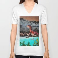 dinosaur V-neck T-shirts featuring Dinosaur by John Turck