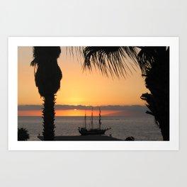 Tenerife Sunset on the Tall Ship Art Print