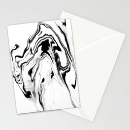 Yumiko - black and white spilled ink abstract painting marble texture pattern marbling marbled paper Stationery Cards