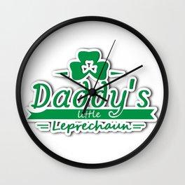 Daddy's Little Leprechaun St Patricks Day Kids Or Boy Wall Clock