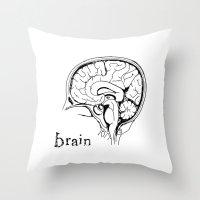 brain Throw Pillows featuring Brain by Etiquette