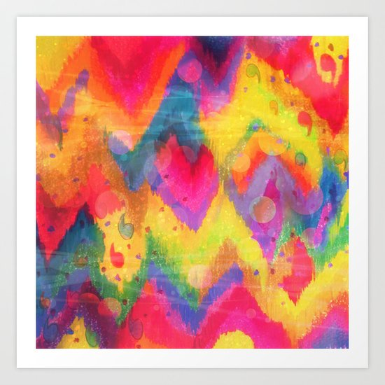 BOLD QUOTATION in NEONS 2 - Intense Rainbow Abstract Watercolor Art Painting Dream Pink Ikat Pattern Art Print