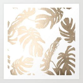 Simply Tropical Palm Leaves in White Gold Sands Art Print