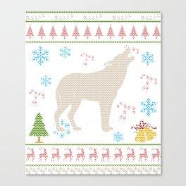 Wolf Hunting Christmas ugly Holiday Shirt Canvas Print