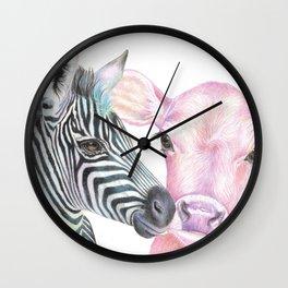 Pink Cow, Blue Zebra Wall Clock
