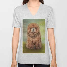 Drawing dog chow chow Unisex V-Neck