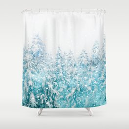 Snowy Pines Shower Curtain