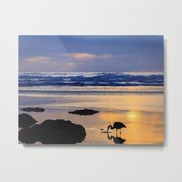 A Great Blue Heron Feeding at Sunset Metal Print