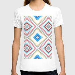 Colorful patchwork mosaic oriental kilim rug with traditional folk geometric ornament T-shirt