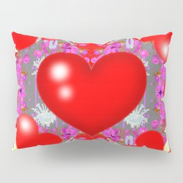 Grey Red Hearts Valentines & Pink Flowers Patterns Pillow Sham