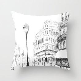 Sketch of a Street in Paris Throw Pillow