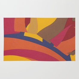 Colorful Sun Vintage Abstract Poster Rug