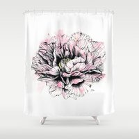peony Shower Curtains featuring Peony  by EllaJohnston Art & Illustration