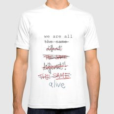 we are all the same/different SMALL White Mens Fitted Tee