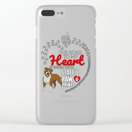The Road To My Heart Is Paved With Stafforshire Bull Terrier Paw Prints Clear iPhone Case